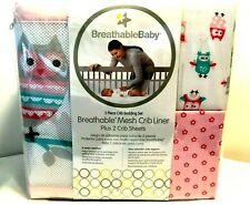Breathable Baby Mesh Crib Liner Plus 2 Crib Sheets 3 Piece Crib Bedding Set Pink