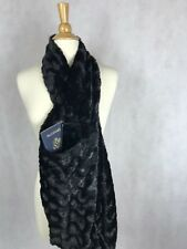 Black Faux Fur Infinity Scarf With Zipper Hidden Pocket Scarf