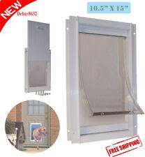 "New listing Pet Door Gate 10.5"" X 15"" FlapTelescoping Frame Secure Dog Entrance Extra Large"
