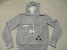 Cat design grey hoodie top with ears adult size