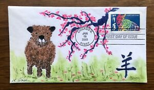 Lunar New Year/Goat, Sheep, Ram #3747 FDC, Kate Hayden cachet, Ryeland Sheep