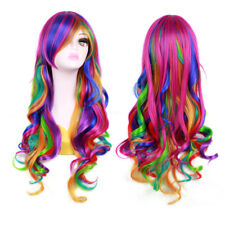 Cosplay Colorful Frisette Fake Hair Wig Long Curly Wavy Hairpieces Lady Makeup