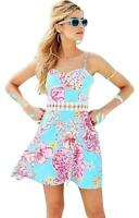 New $178 Lilly Pulitzer Lenore Lace Cut-out Dress Blue Lolita With Sunglow