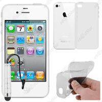Housse Etui Coque Silicone Transparent Apple iPhone 4S 4 + Mini Stylet