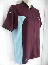 NIKE S Top Shirt Workout Run Performance Partial Zip Short Sleeves Maroon Blue