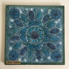 Carreau de Faïence de DANUTA LE HENAFF Décor Floral Bleu