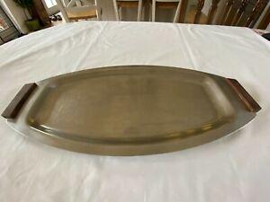 Large Mid Century Old Hall 18/8 Stainless Steel Tray, Teak Handles. England.Used