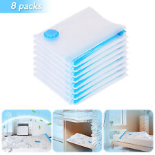 Pack of 8 Vacuum Compressed Storage Bags Space Saver Clothes Bedding 50 x 70cm