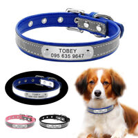 Custom Reflective Dog Collars Pet Cat ID Collar Tag Nameplate Pink Blue Black