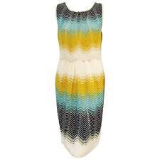 M Missoni Multi Color Zig Zag Knit sleeveless gathered waist Dress 42IT/10US NWT