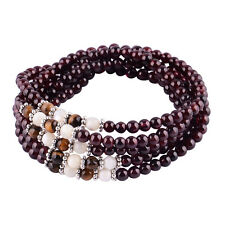 Sterling Silver Thai Style 4MM Garnet Gemstones Beads 5 Wrap Bracelets
