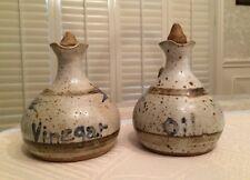Vintage Oil & Vinegar Hand-thrown Pottery Cruets, Blue & Gray - Signed