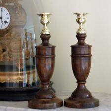 Oak Art Deco Antique Wooden Candlesticks