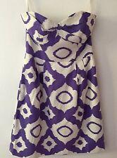 NEW Shoshanna Womens Dress purple & white corset strapless EUC Sz. 4