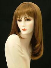 Long Wigs Skin Top w/Bangs Layered   Strawberry Blonde/Medium Auburn     F6