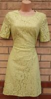 MARKS SPENCER LIMITED EDITION LIME GREEN FLORAL LACE CROCHET A LINE DRESS 10 M