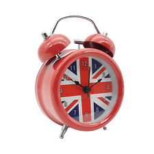 3 inch Metal Double Bell Desk Table Loud Alarm Clock Nightlight UK British Flag