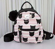 Luv Betsey Johnson Black Cat Mini Backpack Pink Blush Bag NWT