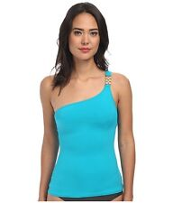 $90 NWT MICHAEL KORS WATCH BAND ONE SHOULDER TANKINI TILE BLUE SZ S