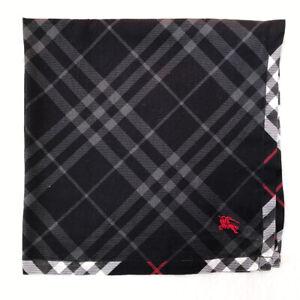 "BurberryScarf Cotton Handkerchief Black Novacheck Embroider Pocket Square 21"""
