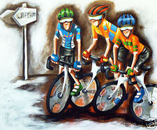 Tour de France cycling bike art print painting Abstract by Andy Baker original