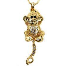 Animal Monkey Clear Rhinestone Crystal Necklace Pendant
