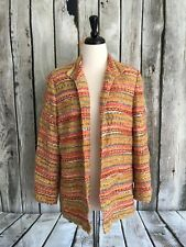 Coldwater Creek Woman's 1X Blazer Jacket Bright Multi-Color Tweed Open Front