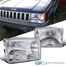 93-98 Jeep Grand Cherokee Replacement Chrome Headlights Clear Head Lamps Pair
