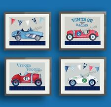 vintage race car nursery art prints for racing bedroom bedding wall art decor