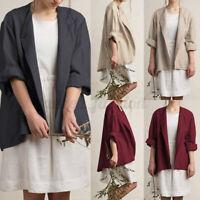 Mode Femme Cardigans Casual en vrac Loose Manche Longue Coton Ample Manteau Plus