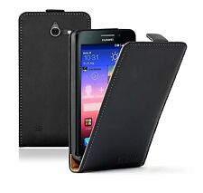 BLACK Leather Huawei Ascend Y550 Flip Case Cover Pouch Saver for Mobile Phone