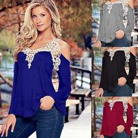 Damen Langarm V-Ausschnitt T Shirt Spitze Schulterfrei Top Bluse Tunika GR.36-48