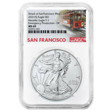 2021 (S) $1 American Silver Eagle NGC MS69 Emergency Production Trolley ER Label