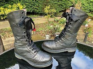 DR. MARTENS 1914 Triumph dark mirage nappa plaid leather boots UK 7 EU 41 US 9