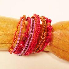 "2"" Red Orange Multi Strand Beaded Bangle Handmade Seed Bead Cuff Bracelet"