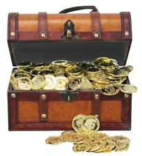 New Vintiquewise Faux Leather Pirate Treasure Chest with 144 Coins, QI003006.P