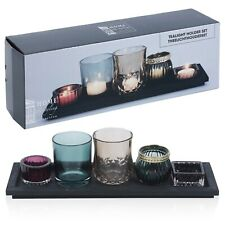 5 Glass Tealight Holders With Wood Tray Mantle Display Home Decoration Gift Set