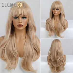Long Wavy Hair Wigs with Bangs for Women Light Blonde Natural Cosplay Daily Wig