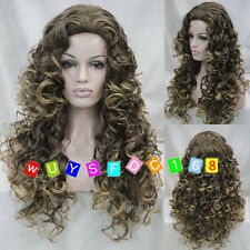 Fashion Ladies Long Curly women Cosplay hair Wigs brown blond mixed + Wig Cap