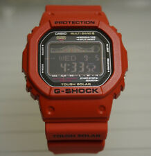 Casio G-Shock GWX5600B-7 Modded Red Multiband/Solar/Tide Gshock GW-X5600