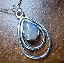 Rainbow Moonstone Teardrop in Double Hoop 925 Sterling Silver Necklace New  61m