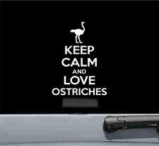 Keep calm and love ostriches vinyl decal sticker bumper car truck animal bird