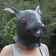 Black Creepy Rabbit Head Face Animal Costume Halloween Party Prop Carnival Mask