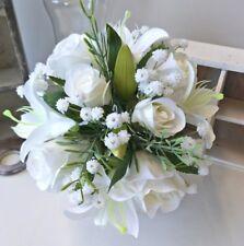SILK WEDDING BRIDESMAID BOUQUET WHITE LILY ROSES WHITE BABIES BREATH FLOWER POSY