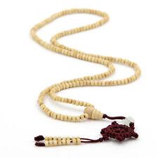 6mm*3mm 216 Tibet Buddhist White Wood Prayer Beads Mala Bracelet Happy Lucky