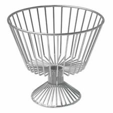 "Hubert® Round Silver Metal 1-Tier Fruit Basket - 11""Dia x 10""H"