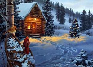 Darrell Bush Winter Colors Cardinal Cabin Print 20 x 14