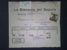 B84-DOCUMENTO CON SELLO FALANGE AUXILIO DE INVIERNO TOTANA MURCIA 1945