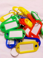 Key Tags Rings Assorted Coloured Plastic ID Luggage Label Name Car Keyring x25