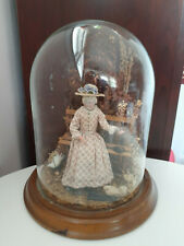 """Vintage celluloid dollhouse doll scene in glass display dome handmade 9"""" high"""